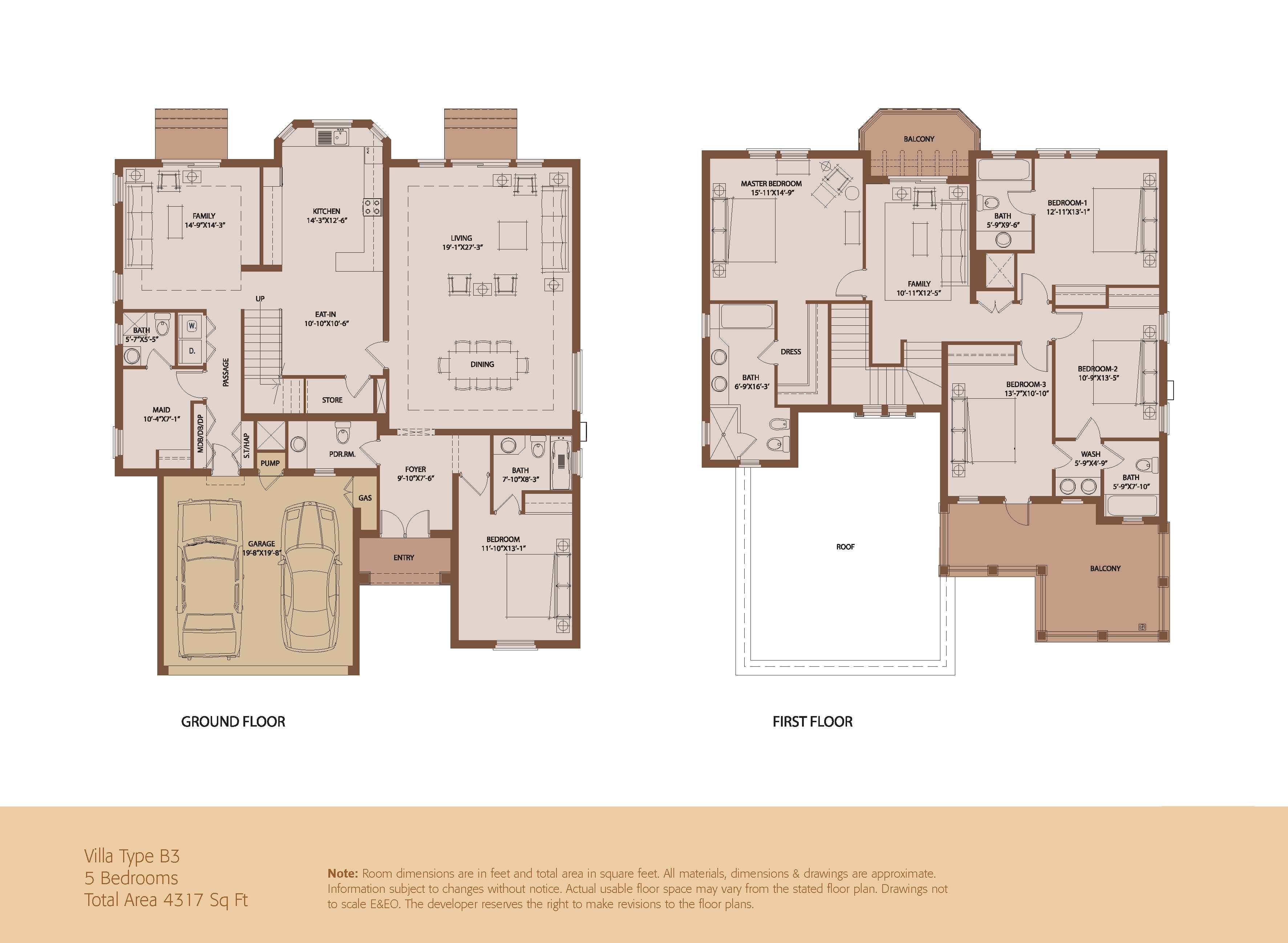 An elegant emaar villa 5 beds 4317 sq ft built by for Villa floor plans