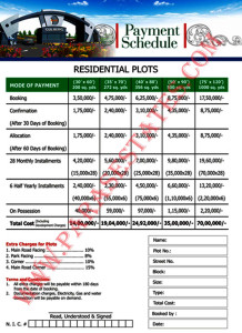 Payment schedule for developed blocks (New booking) Gulberg Islamabad