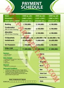 Gulberg Greens - Farm Houses - Payment Plan Oct 2013 Booking