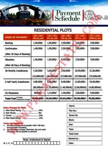Payment schedule for undeveloped blocks (New booking) Gulberg Islamabad