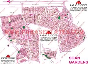 Map Soan Gardens Islamabad